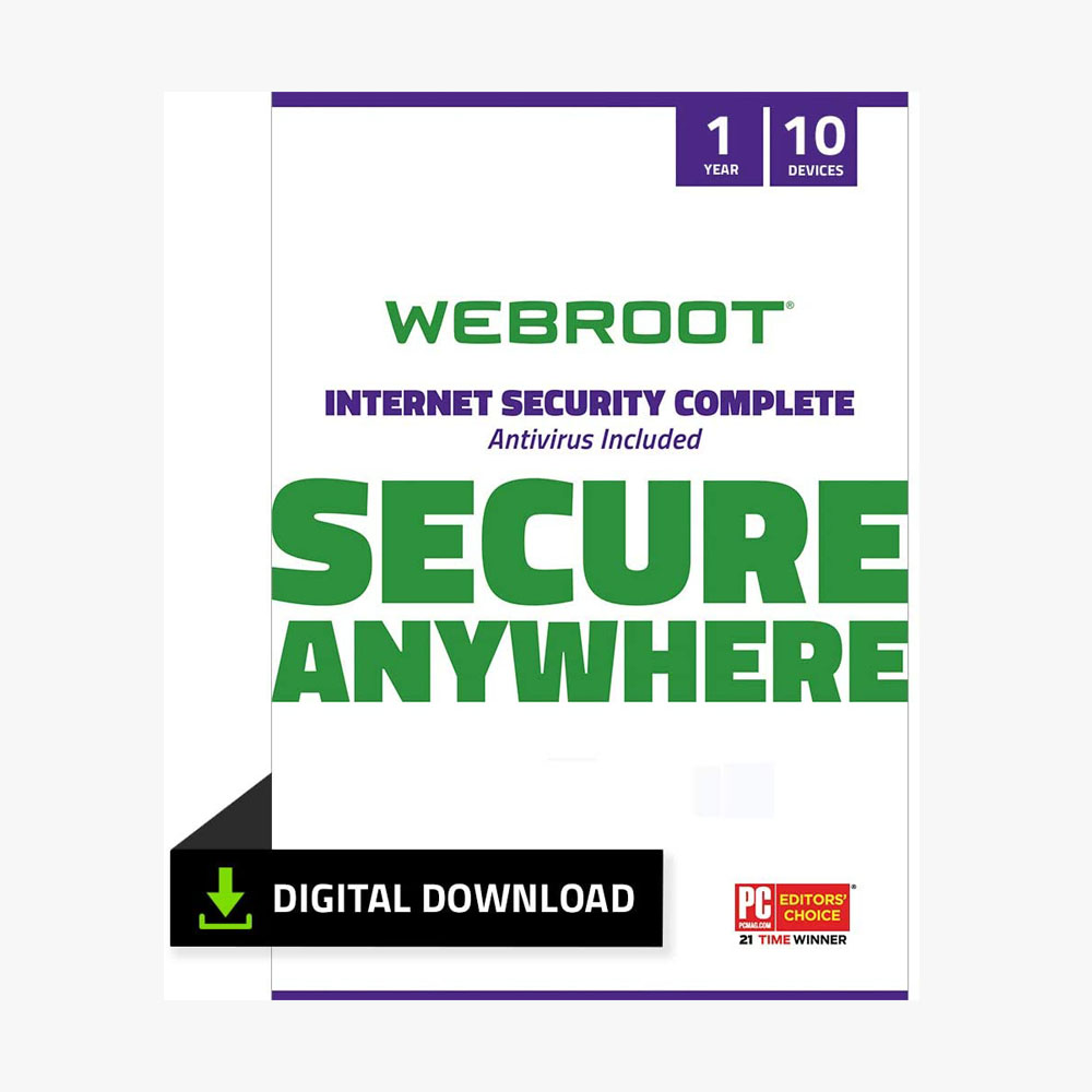 Webroot Internet Security Complete with Antivirus Protection Software | 10 Device | 1 Year Subscription | PC Download
